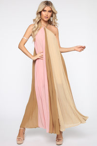 Always Gossiping Maxi Dress - Pink/Taupe Angle 1