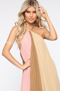 Always Gossiping Maxi Dress - Pink/Taupe Angle 2