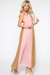 Always Gossiping Maxi Dress - Pink/Taupe Angle 3
