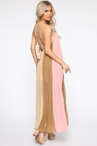 Always Gossiping Maxi Dress - Pink/Taupe Angle 4