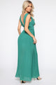 Leave Them Envious Pleated Maxi Dress - Jade