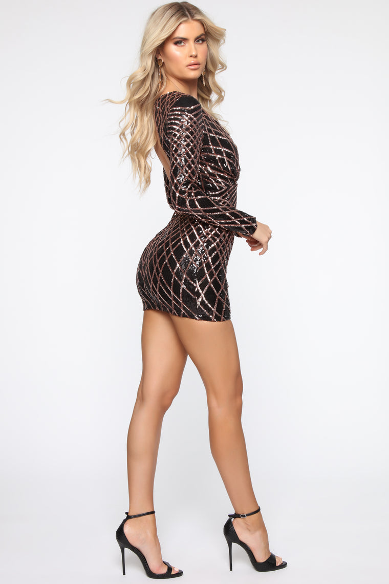Party Line Sequin Mini Dress - Black/Rose Gold