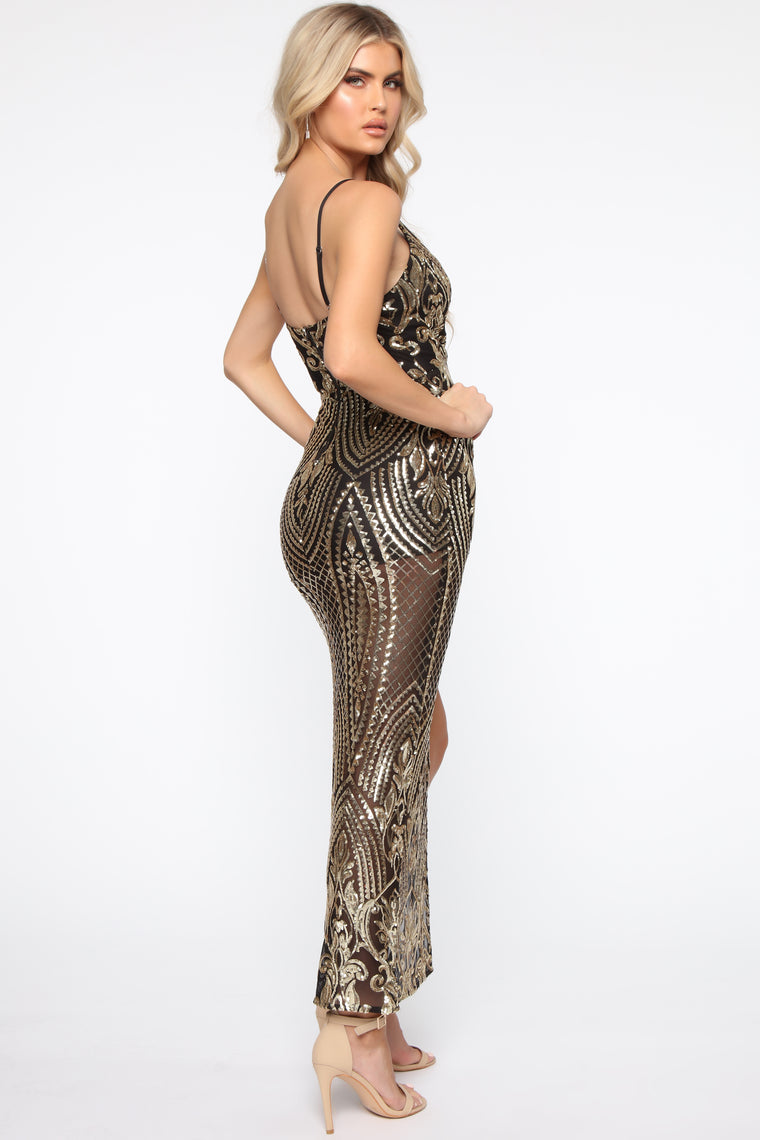 Check On It Sequin Gown - Black/Copper