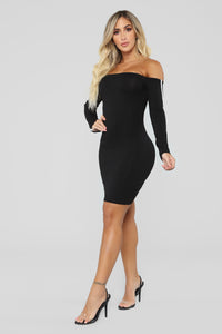 Happy Without You Off Shoulder Dress - Black