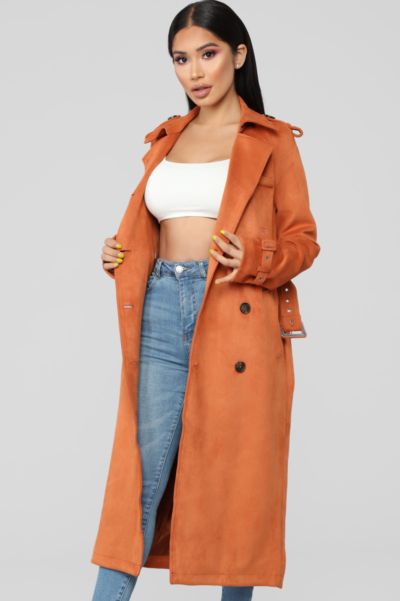Jet Set Life Trench Coat - Rust