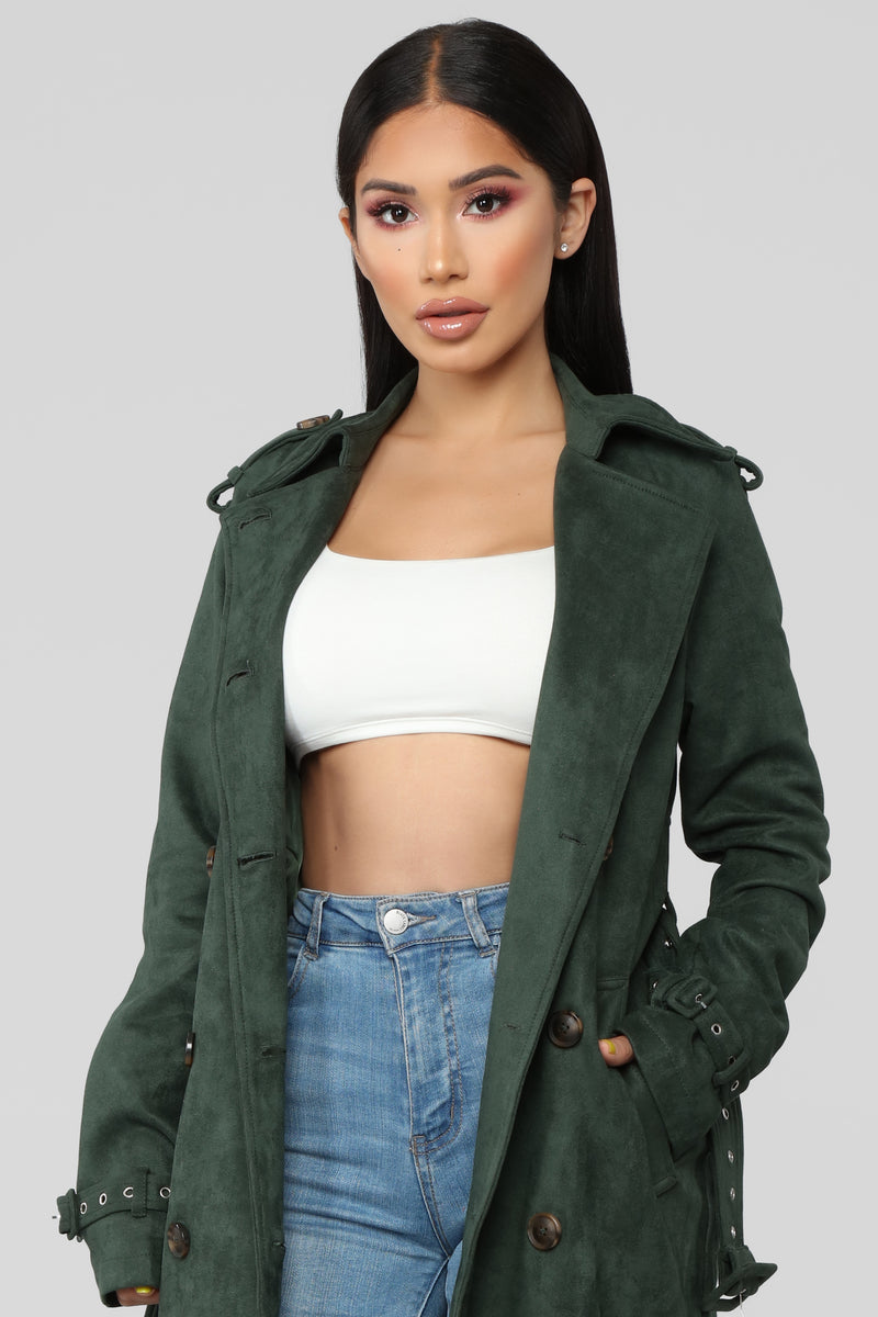 Jet Set Life Trench Coat - Hunter Green