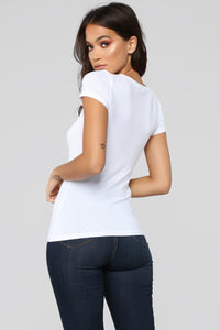 Alisa Short Sleeve Top - White