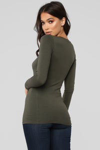 Briana Long Sleeve Top - Olive