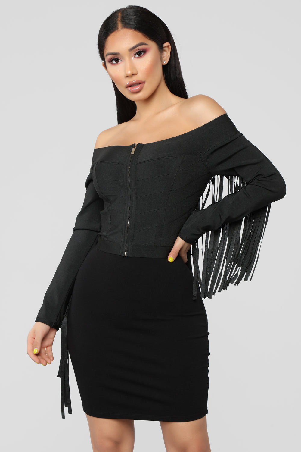 Fringe Off Bandage Jacket - Black