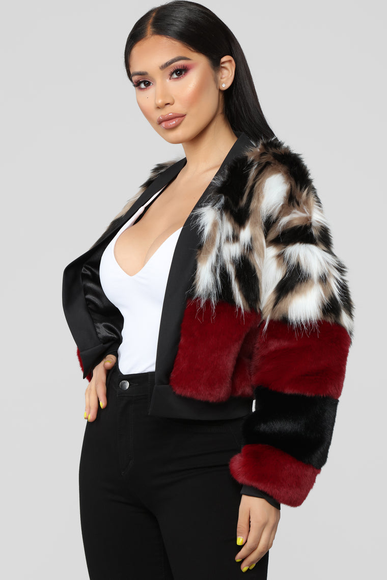 Be Fur Real Colorblock Jacket - Burgundy