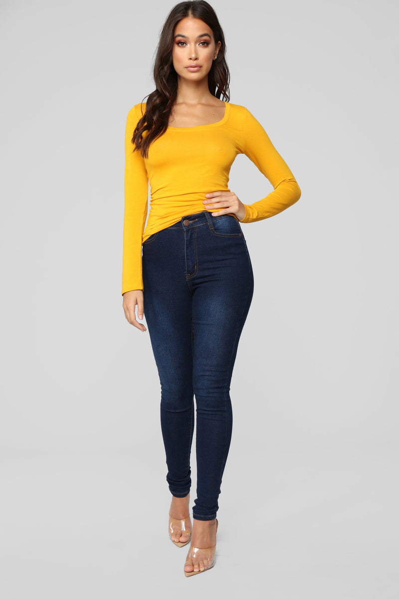 Briana Long Sleeve Top - Mustard