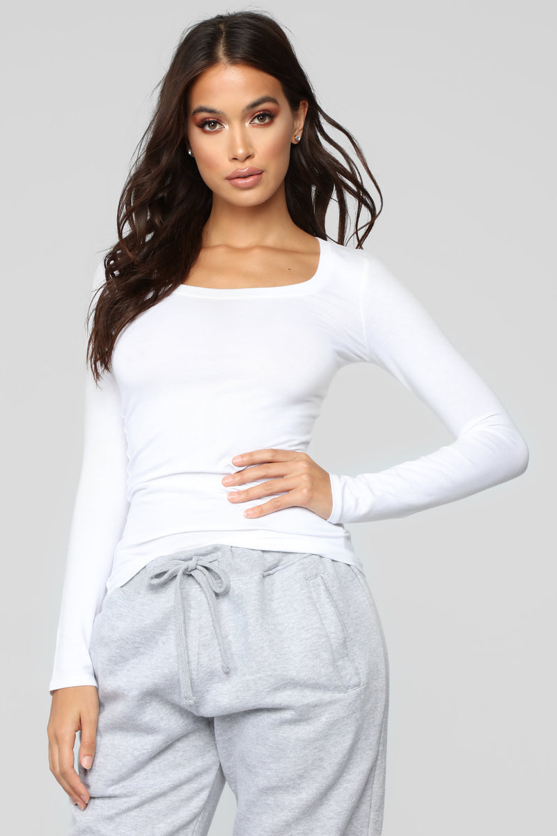 Briana Long Sleeve Top - White
