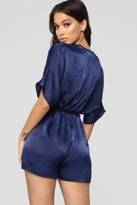 Enchanted Dreams Satin Romper - Navy