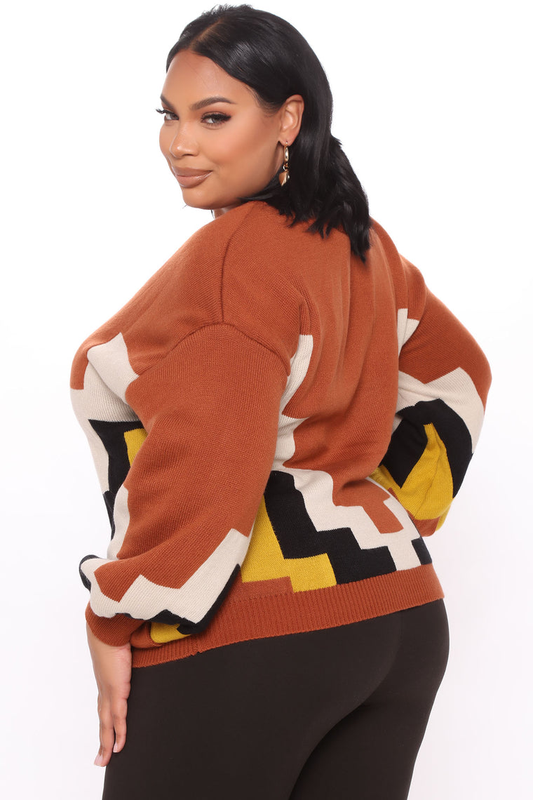 In That Moment Colorblock Sweater - Brown/combo