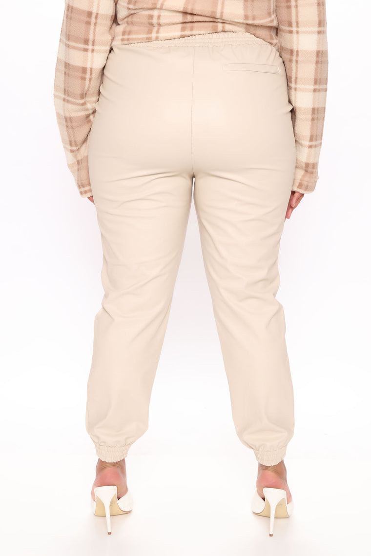 Rock My World Faux Leather Jogger Pant - Ivory