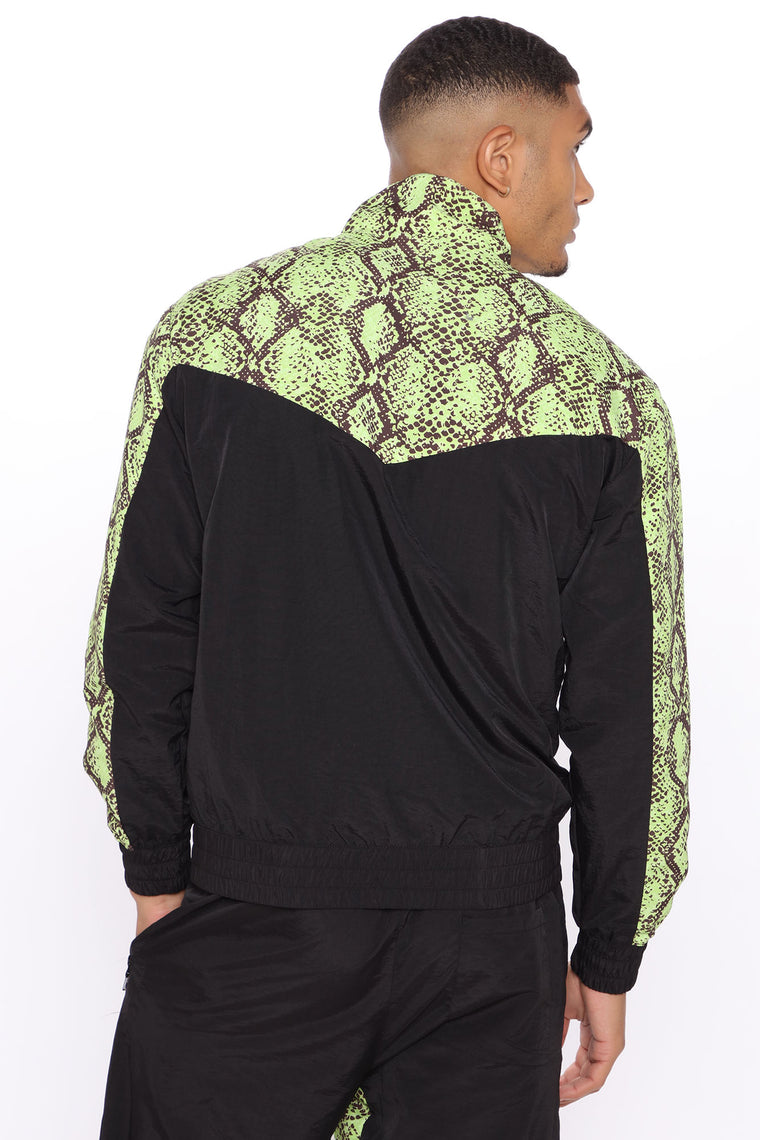 Make A Statement Windbreaker Track Jacket - Black/Green