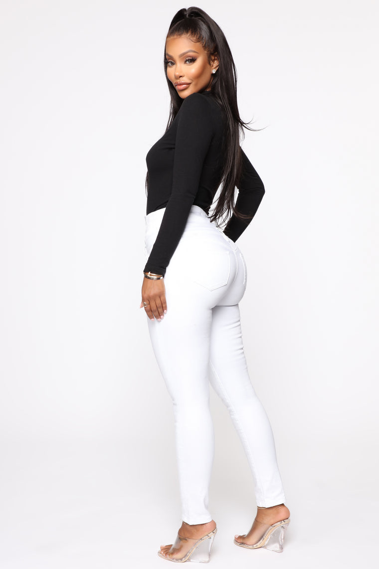Through The Motion Skinny Jeans - White