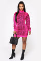 Drama Free Sweater Dress - Fuchsia/Black