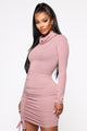 What's The Ruche Mini Dress - Vintage Mauve