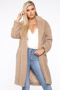 Divine Fuzzy Coat - Taupe Angle 1