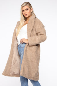 Divine Fuzzy Coat - Taupe Angle 3