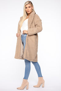 Divine Fuzzy Coat - Taupe Angle 4