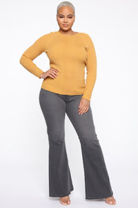 Pull Me Closer Long Sleeve Top - Mustard Angle 2