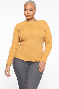 Pull Me Closer Long Sleeve Top - Mustard Angle 1