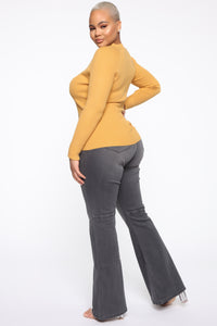 Pull Me Closer Long Sleeve Top - Mustard Angle 4
