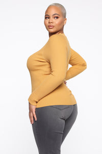 Pull Me Closer Long Sleeve Top - Mustard Angle 3