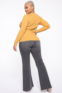 Pull Me Closer Long Sleeve Top - Mustard Angle 5