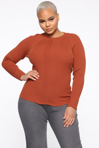 Pull Me Closer Long Sleeve Top - Brown