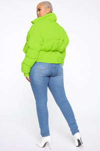Trippin' On You Puffer Jacket - Neon Green