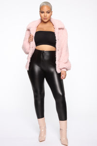 Touchy Feelings Fuzzy Jacket - Blush Angle 7