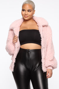 Touchy Feelings Fuzzy Jacket - Blush Angle 6