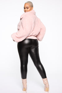 Touchy Feelings Fuzzy Jacket - Blush Angle 10