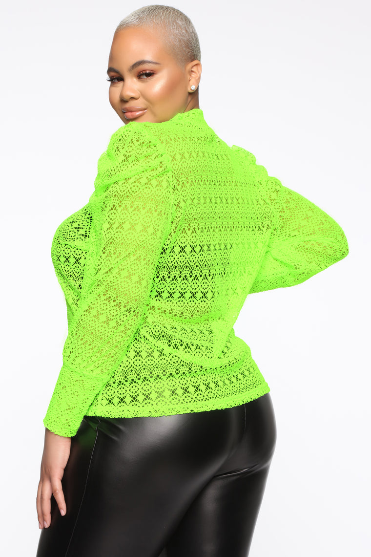 Tea Time Somewhere Lace Top - Neon Green