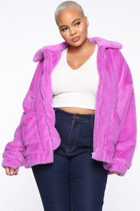 Places To Be Faux Fur Jacket - Purple Angle 6