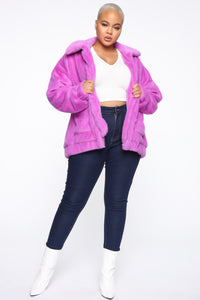 Places To Be Faux Fur Jacket - Purple Angle 7