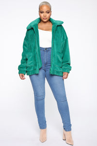Places To Be Faux Fur Jacket - Kelly Green Angle 7