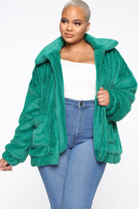 Places To Be Faux Fur Jacket - Kelly Green Angle 6