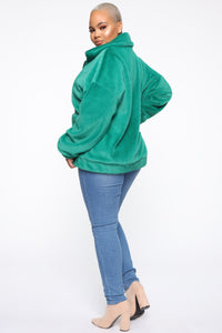 Places To Be Faux Fur Jacket - Kelly Green Angle 8