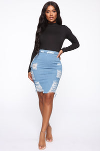 Major Moves Denim Skirt - Light Blue Wash Angle 2