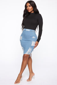 Major Moves Denim Skirt - Light Blue Wash Angle 4