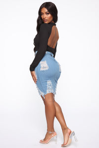 Major Moves Denim Skirt - Light Blue Wash Angle 6