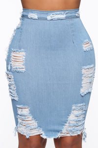 Major Moves Denim Skirt - Light Blue Wash Angle 1