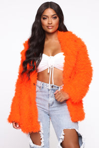 In My Heart Fuzzy Coat - Neon Orange Angle 1