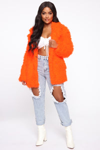 In My Heart Fuzzy Coat - Neon Orange Angle 2