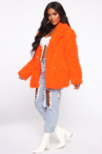 In My Heart Fuzzy Coat - Neon Orange Angle 3