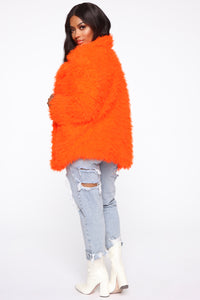 In My Heart Fuzzy Coat - Neon Orange Angle 4